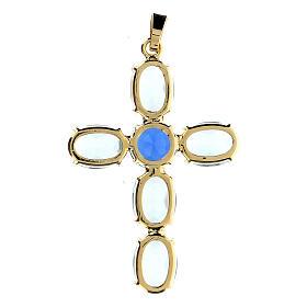Zawieszka krzyżyk kryształ turkusowy owalny s3