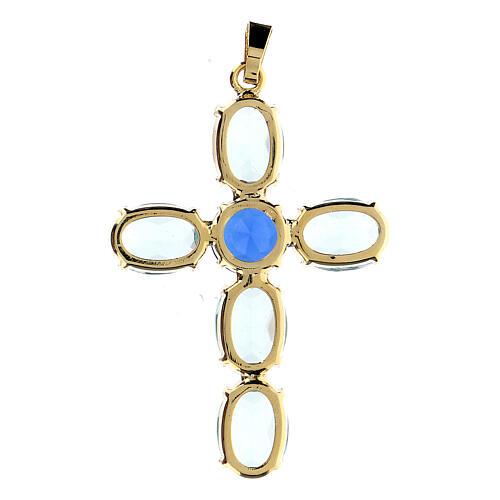 Zawieszka krzyżyk kryształ turkusowy owalny 3