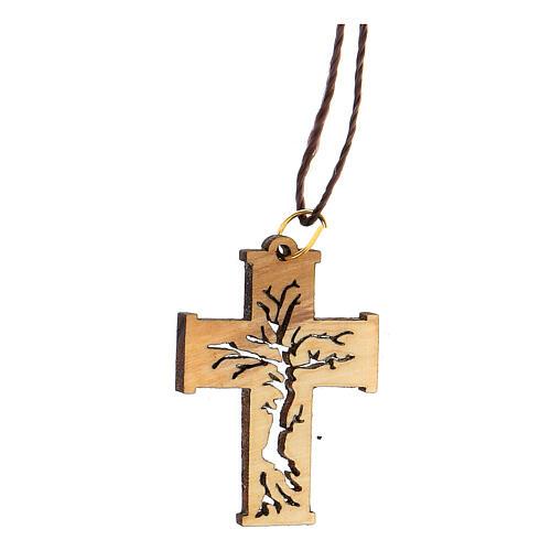 Collar colgante perforado Árbol Vida madera olivo Belén 2