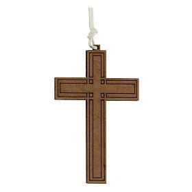 Croix bois gravures géométriques 9x6 cm s1