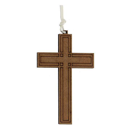 Croix bois gravures géométriques 9x6 cm 1