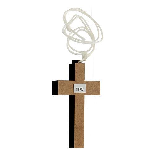 Croix bois gravures géométriques 9x6 cm 2