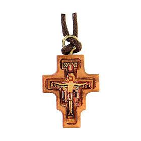 Pendente croce legno olivo San Damiano resina 2 cm