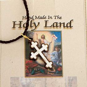 Wisiorek krzyż drewno Ziemia święta z masą perłową s2