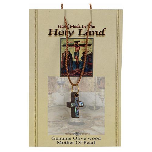 Colgante cruz madera Tierra Santa con nácar y borde verde 3