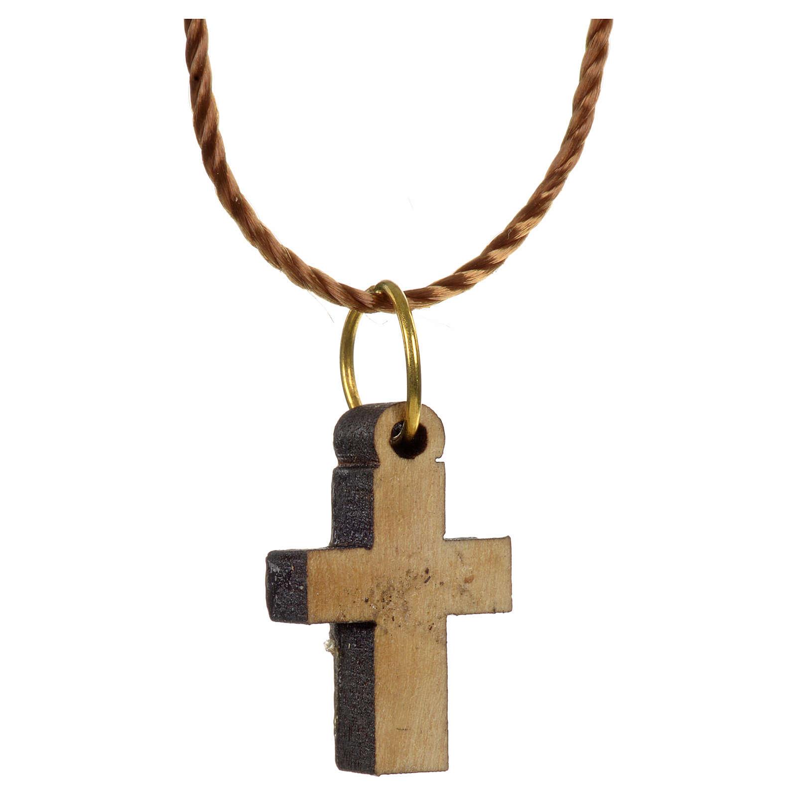 Pendentif croix bois Terre sainte et nacre bord vert 4