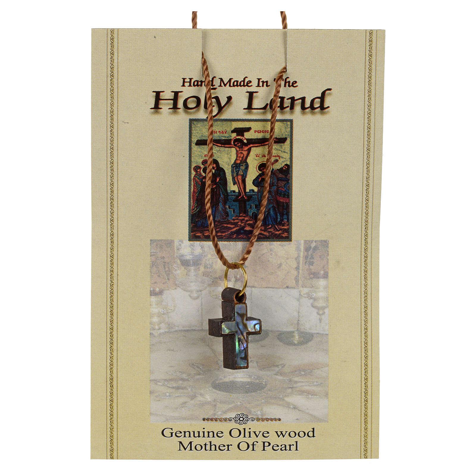 Wisiorek krzyż drewno Ziemia święta masa perłowa i krawędzie zielone 4