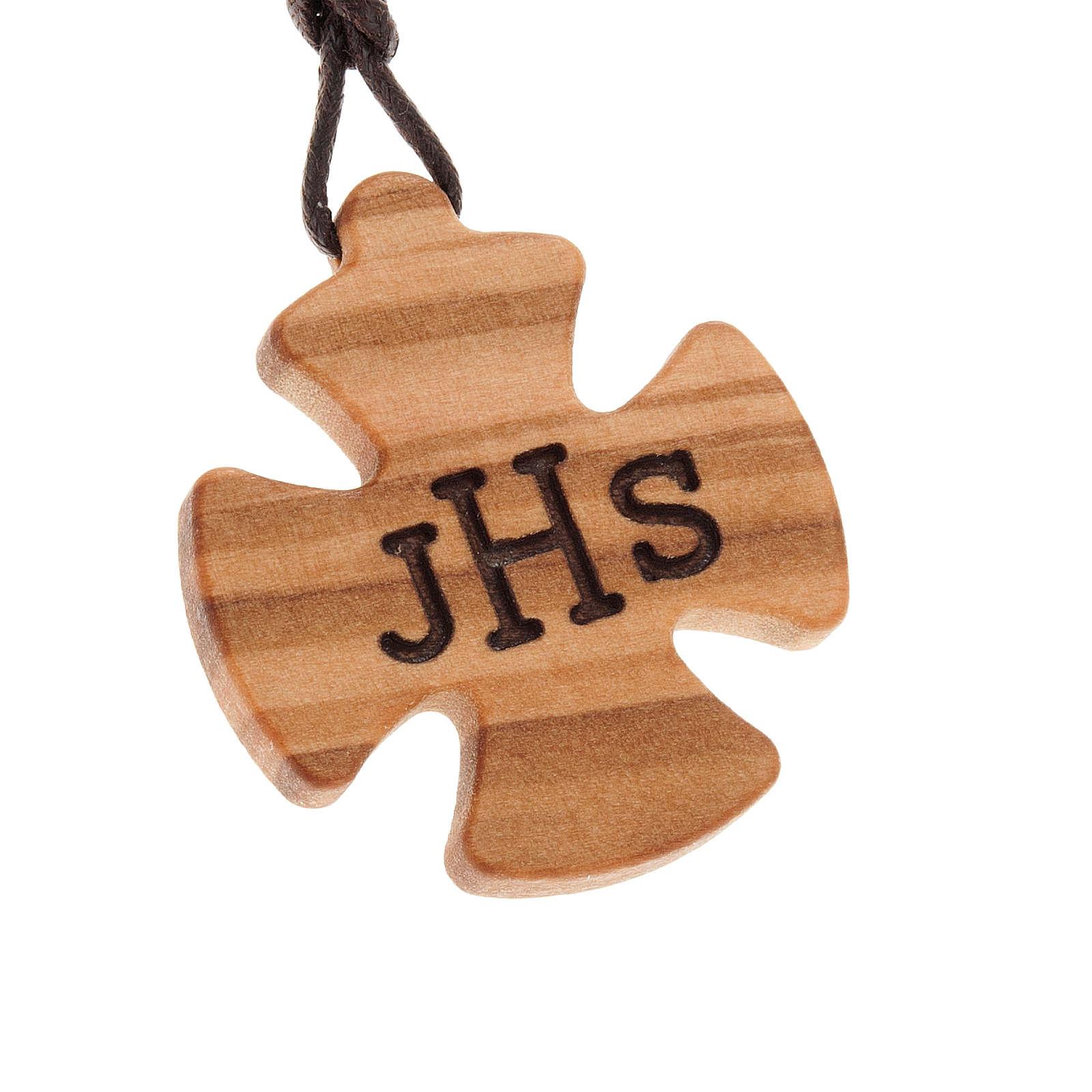 Kreuz Anhänger Olivenholz mit JHS 4