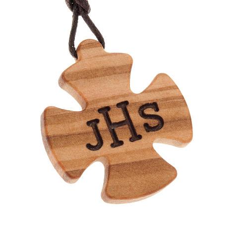 Kreuz Anhänger Olivenholz mit JHS 1