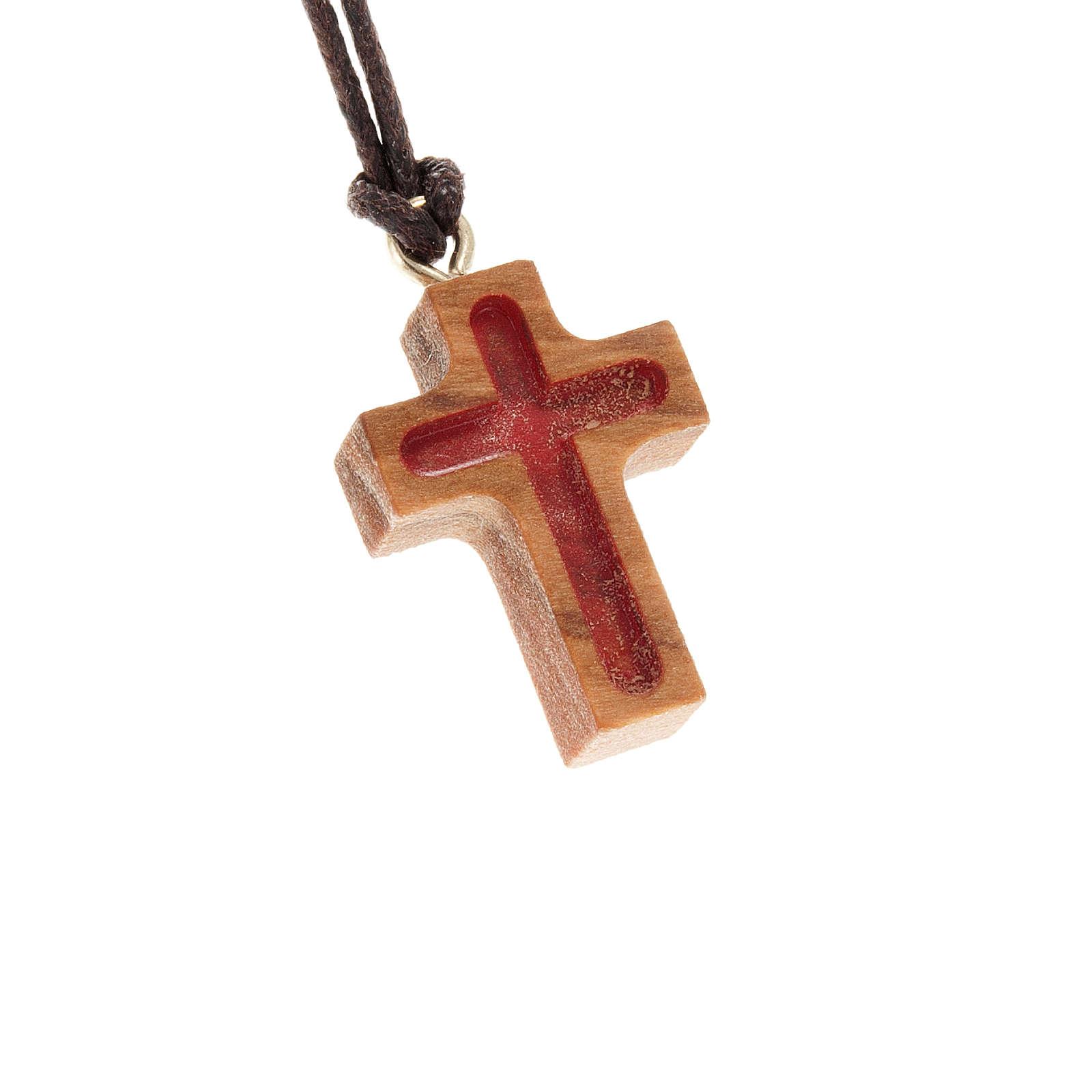 Kreuz Anhänger Olivenholz mit rot 4