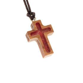 Kreuz Anhänger Olivenholz mit rot s1