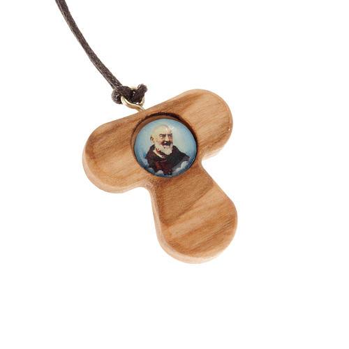 Tau Kreuz aus Olivenholz Pater Pio 1
