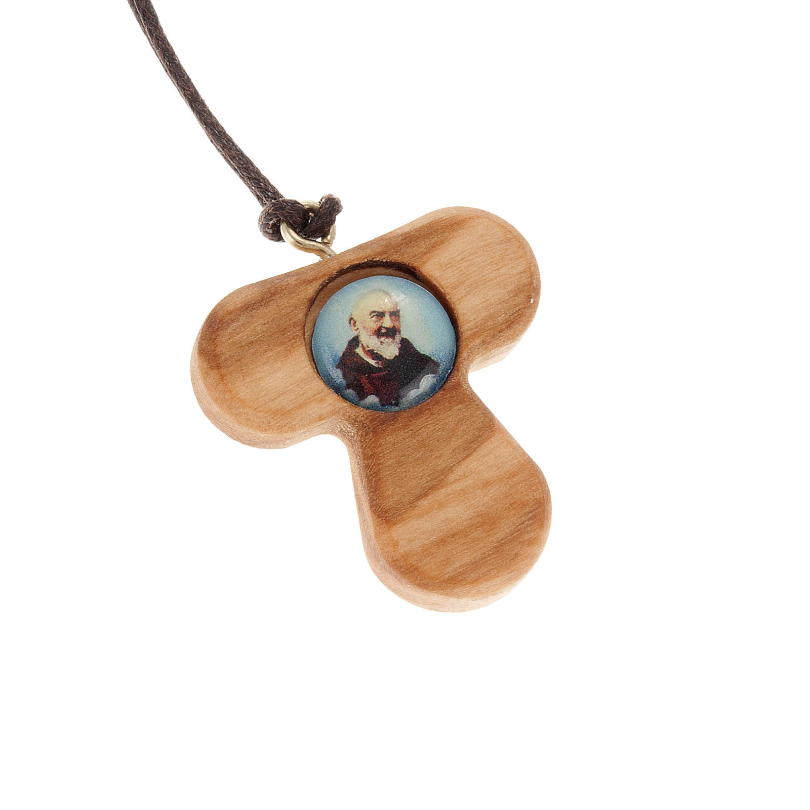 Tau pendant in olive wood with Padre Pio 4
