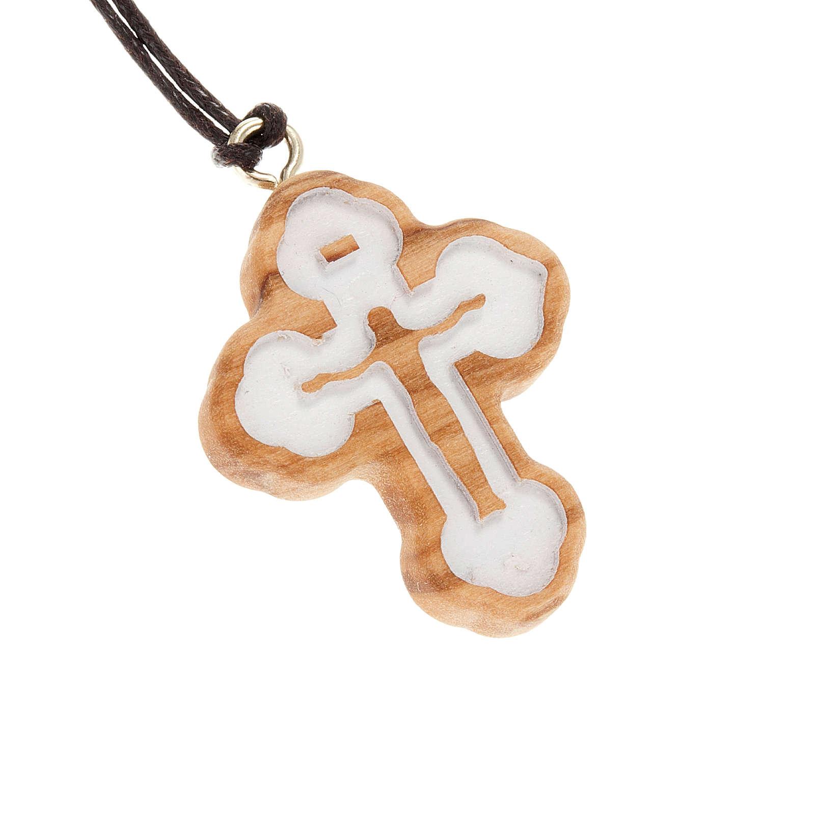 Croce trilobata bianca intaglio 4