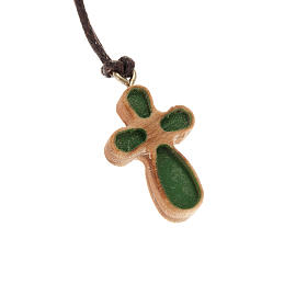 Cruz estilizada madera olivo verde s1