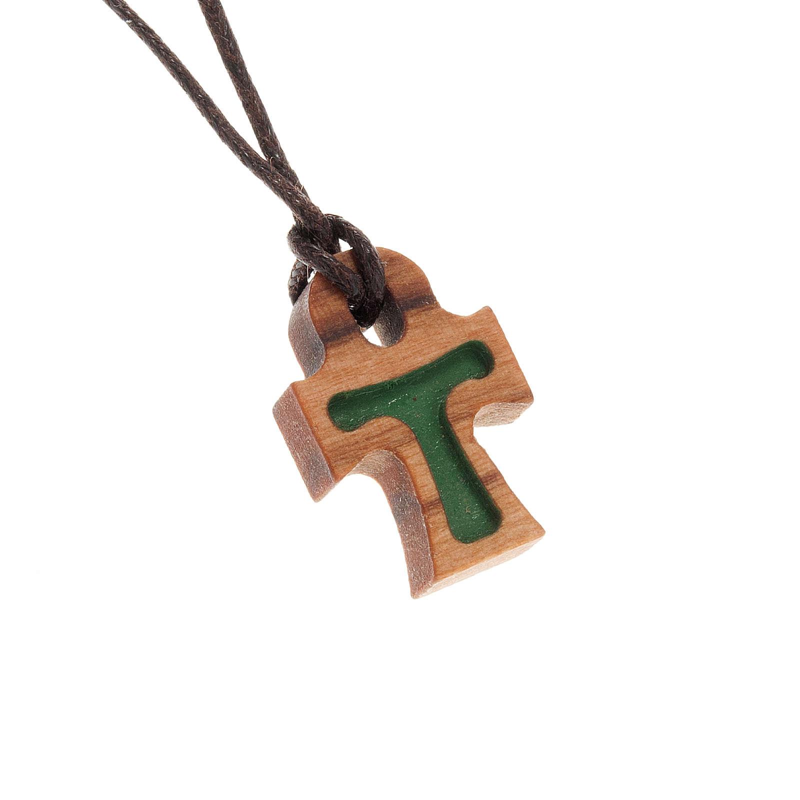 Croix en forme de tau verte bois d'olivier 4