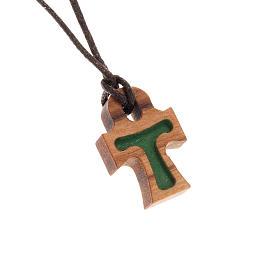 Croix en forme de tau verte bois d'olivier s1