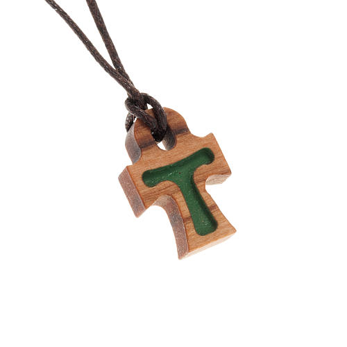 Croix en forme de tau verte bois d'olivier 1