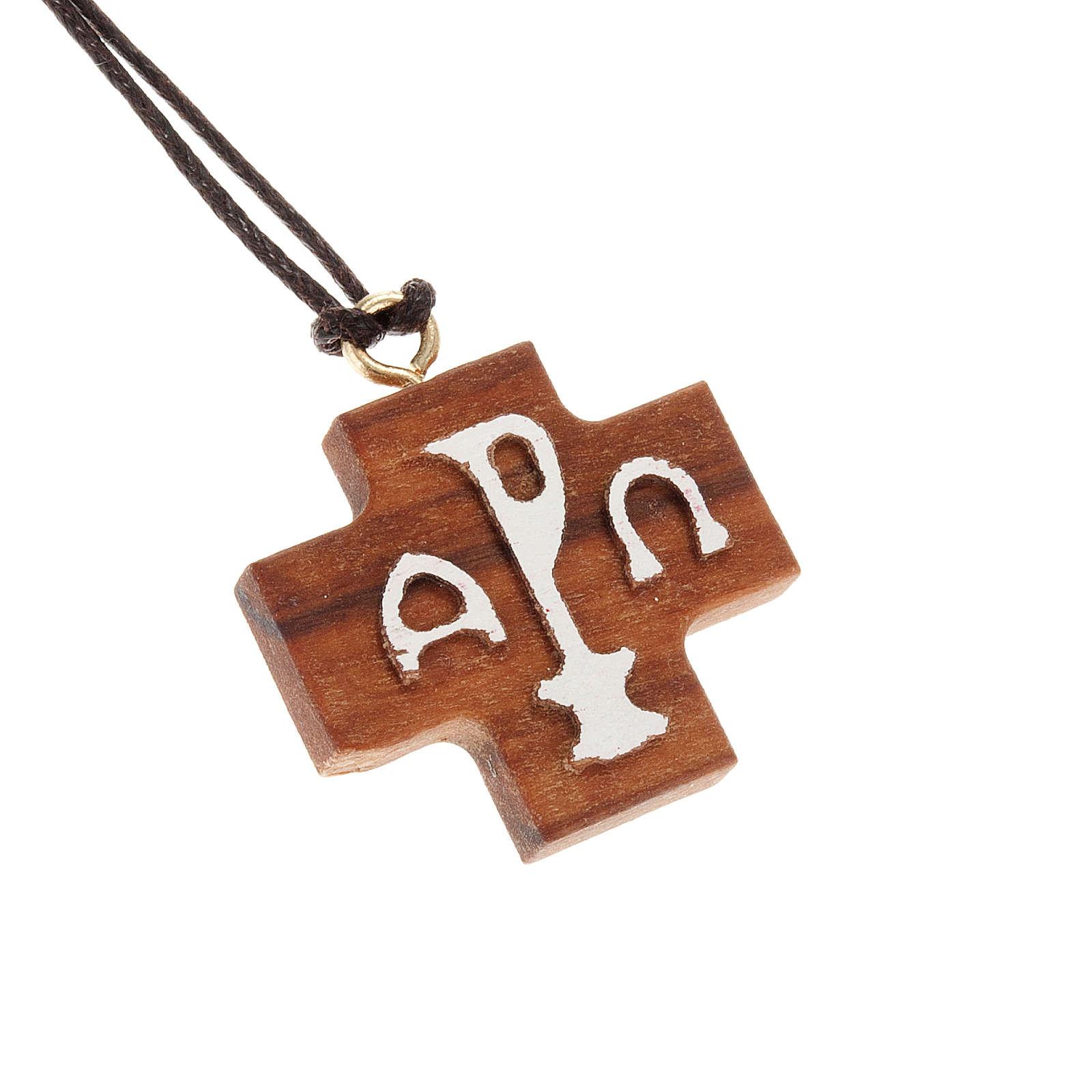 Kreuz Anhänger Alpha und Omega Relief aus Olivenholz 4