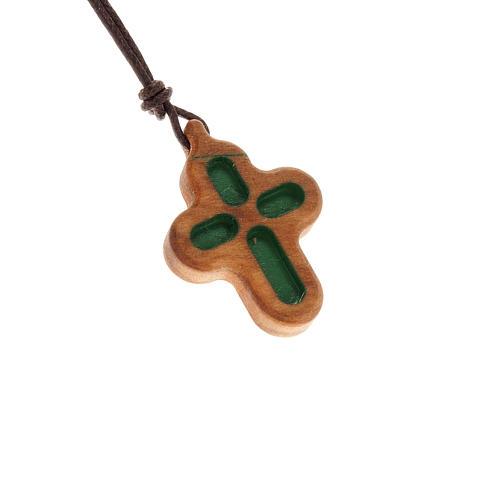 Croce incisa tondeggiante legno olivo 1