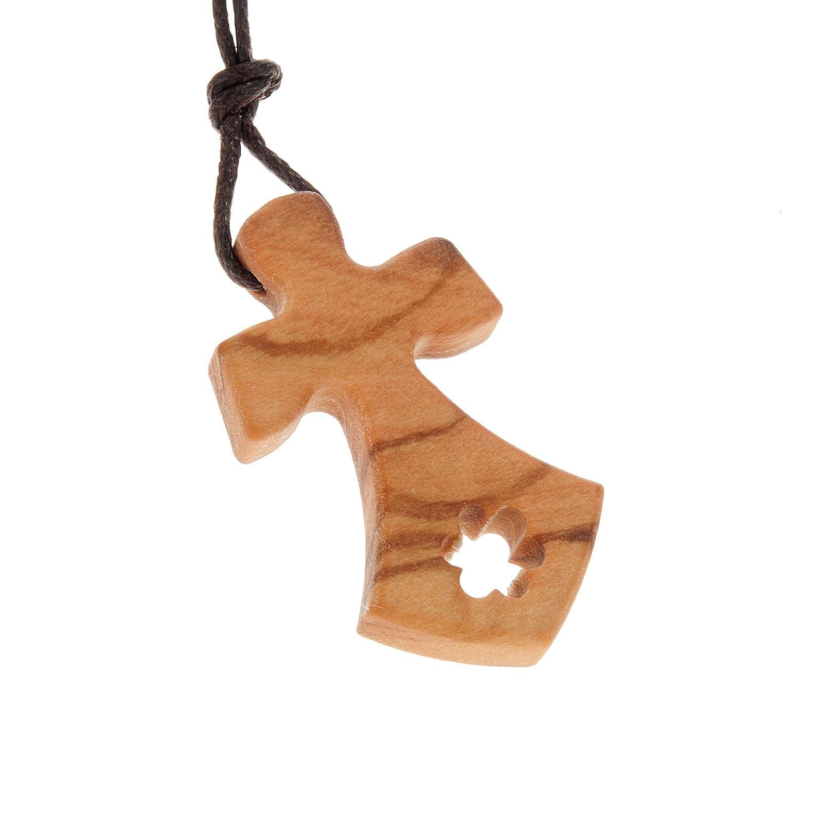 Cruz perforada estrella madera de olivo 4