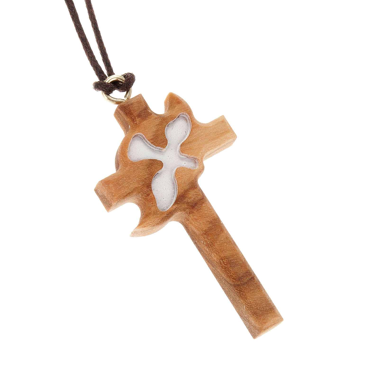 Cross, white dove in olive wood 4