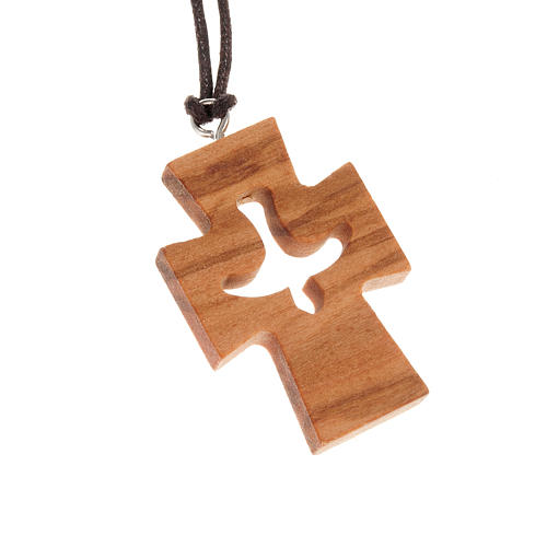 Cross in olive wood with dove 1