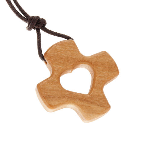 Perforated cross with heart in olive wood 1