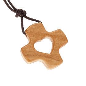 Pendentifs croix bois: Croix percé coeur bois d'olivier