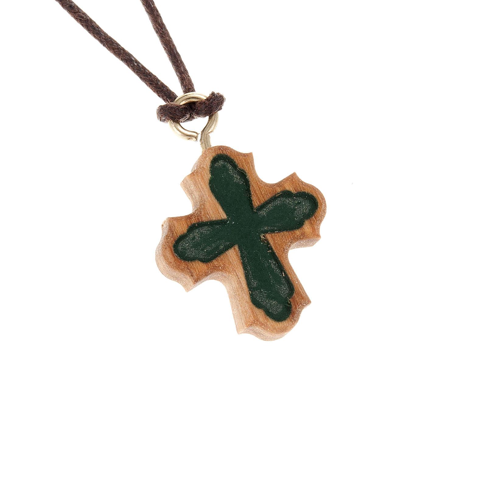 Croce olivo gotica incisa verde 4