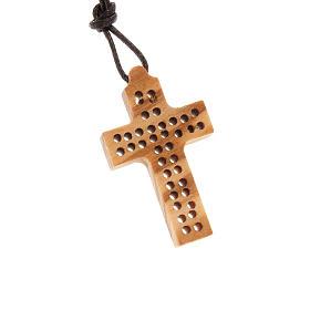 Wooden cross pendants: Perforated cross, 2 lines
