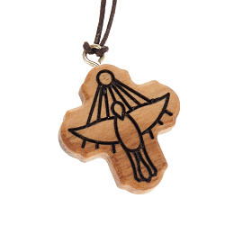 Cross pendant in olive wood with Holy Spirit carving s1