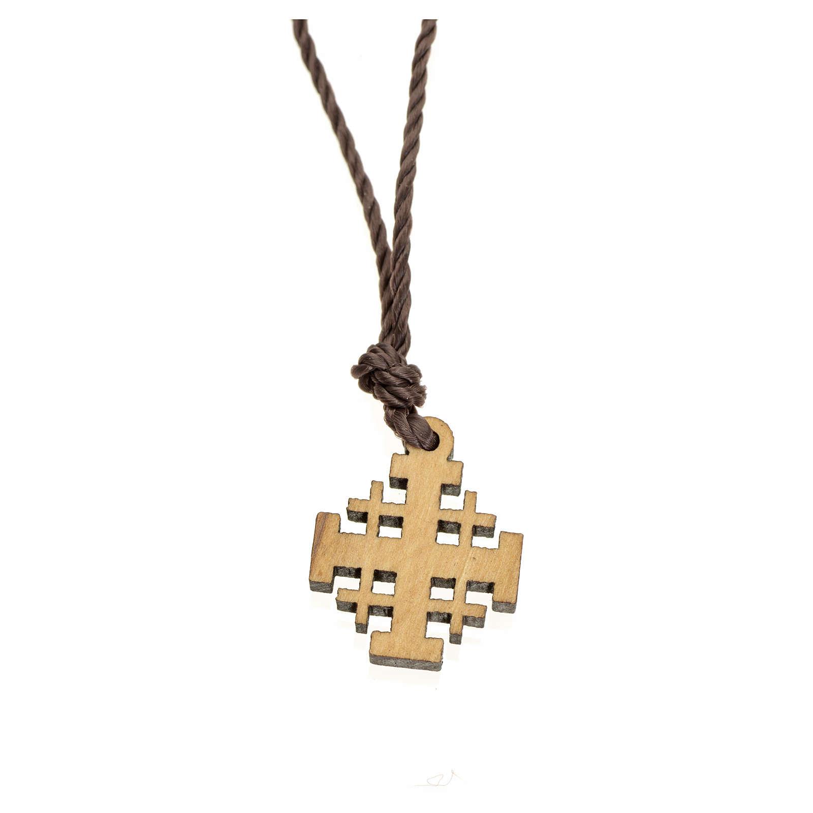 Jerusalem cross pendant in olive wood, Holy Land 4