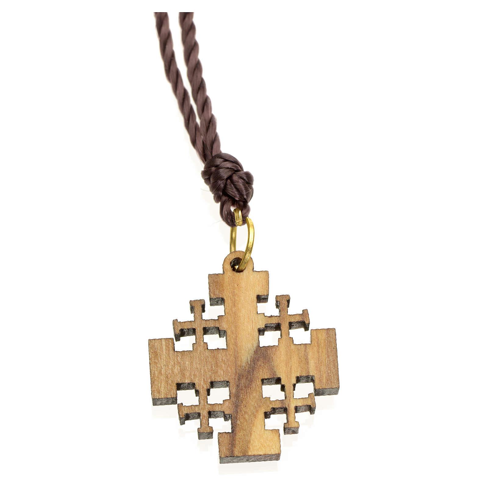 Pendente in olivo Terrasanta croce Jerusalem 4