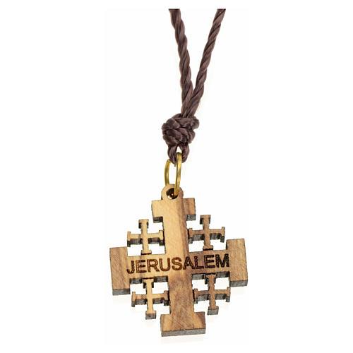 Pendente in olivo Terrasanta croce Jerusalem 1