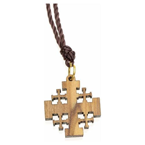 Pendente in olivo Terrasanta croce Jerusalem 2