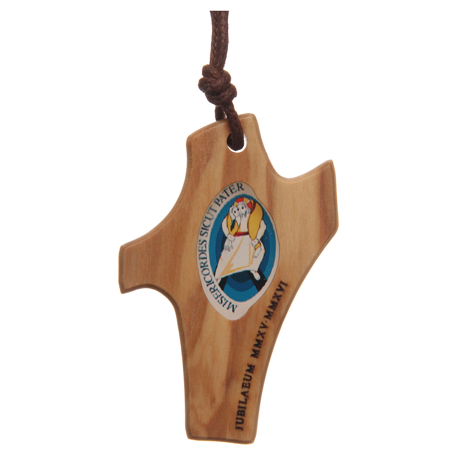 STOCK Jubilee of Mercy olive wood pendant with cord and logo 4,5x3 cm 4