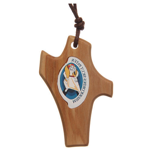 STOCK Jubilee of Mercy olive wood pendant with cord and logo 4,5x3 cm 1