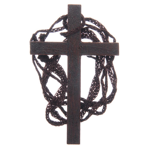Holzkreuz mit goldfarbenen Einlagen und Kordel 8 cm 2