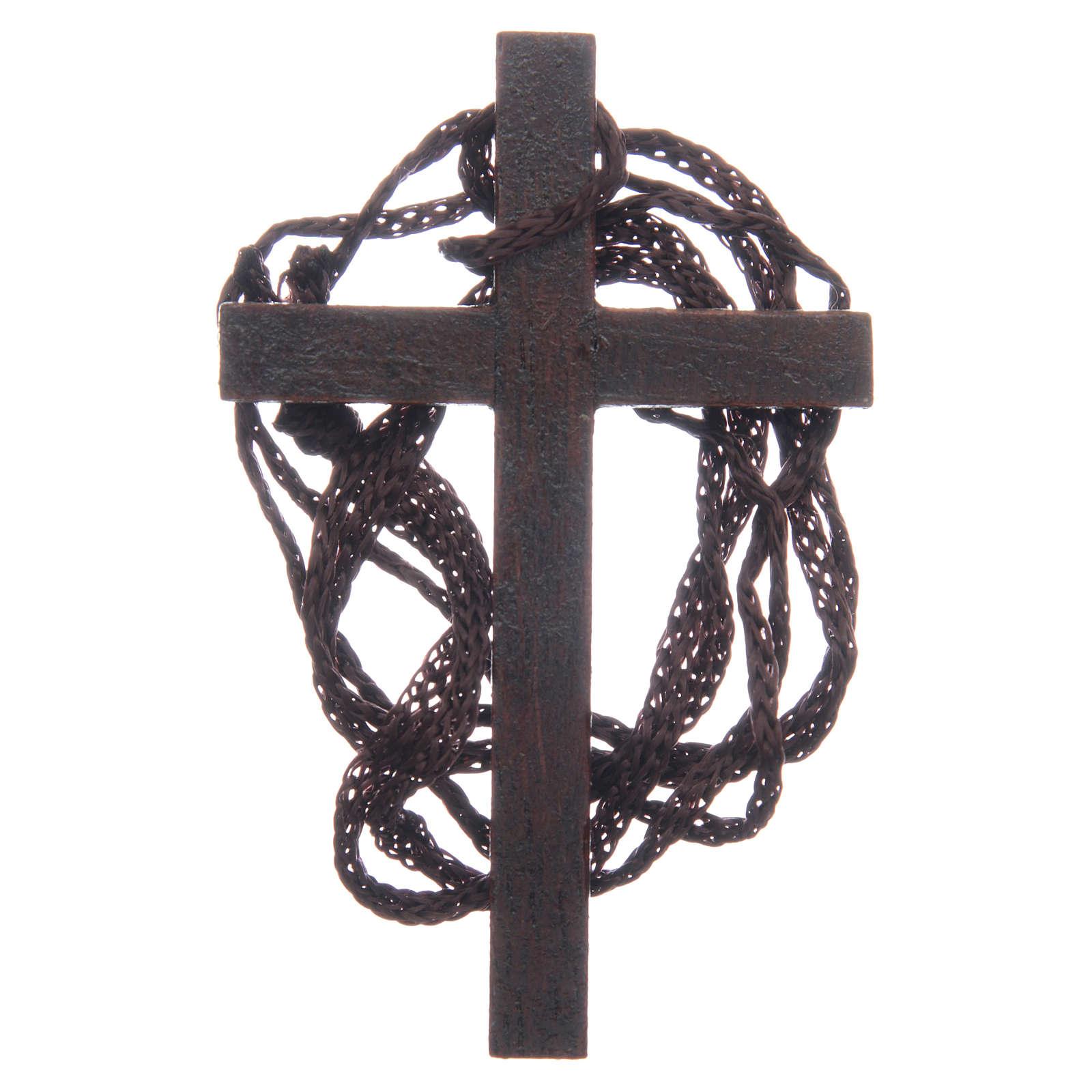 Cruz  madera incrustación dorada cuerda 8 cm 4