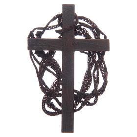 Cruz  madera incrustación dorada cuerda 8 cm s2