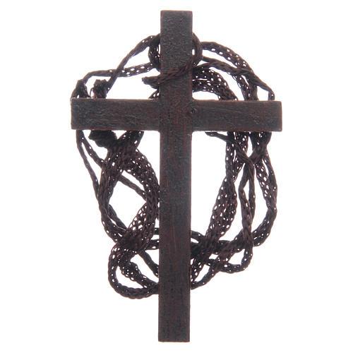 Cruz  madera incrustación dorada cuerda 8 cm 2