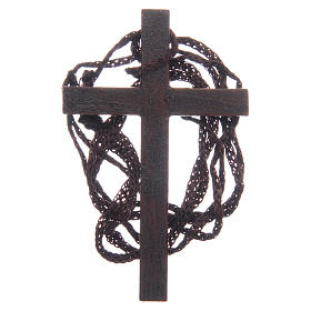 Croix bois marqueterie dorée cordon 8 cm s2