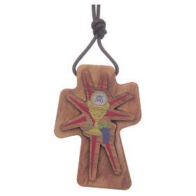 Croce olivo Calice rilievo 5 cm s1
