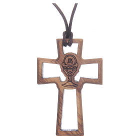 Wooden cross pendants: Olive wood cross, drilled with Chalice image 5 cm