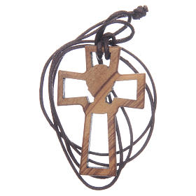 Olive wood cross, drilled with Chalice image 5 cm s2