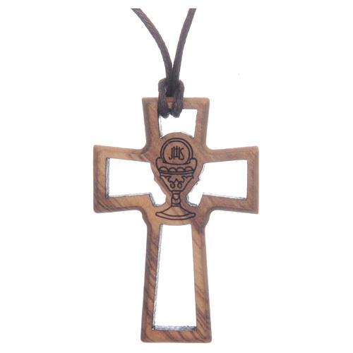 Olive wood cross, drilled with Chalice image 5 cm 1