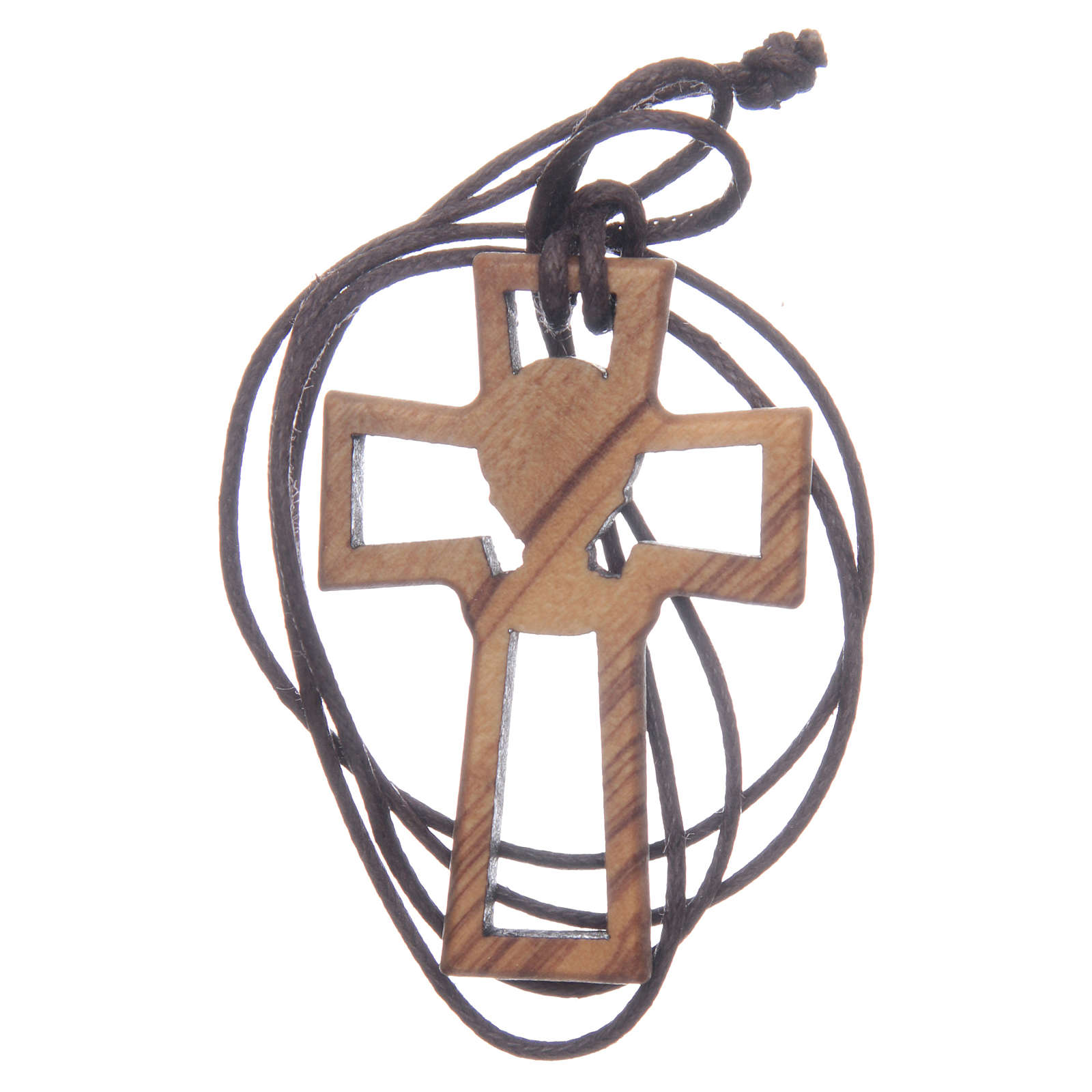 Olive wood cross, drilled with Chalice image 5 cm 4
