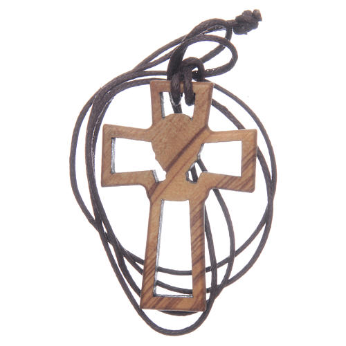 Olive wood cross, drilled with Chalice image 5 cm 2