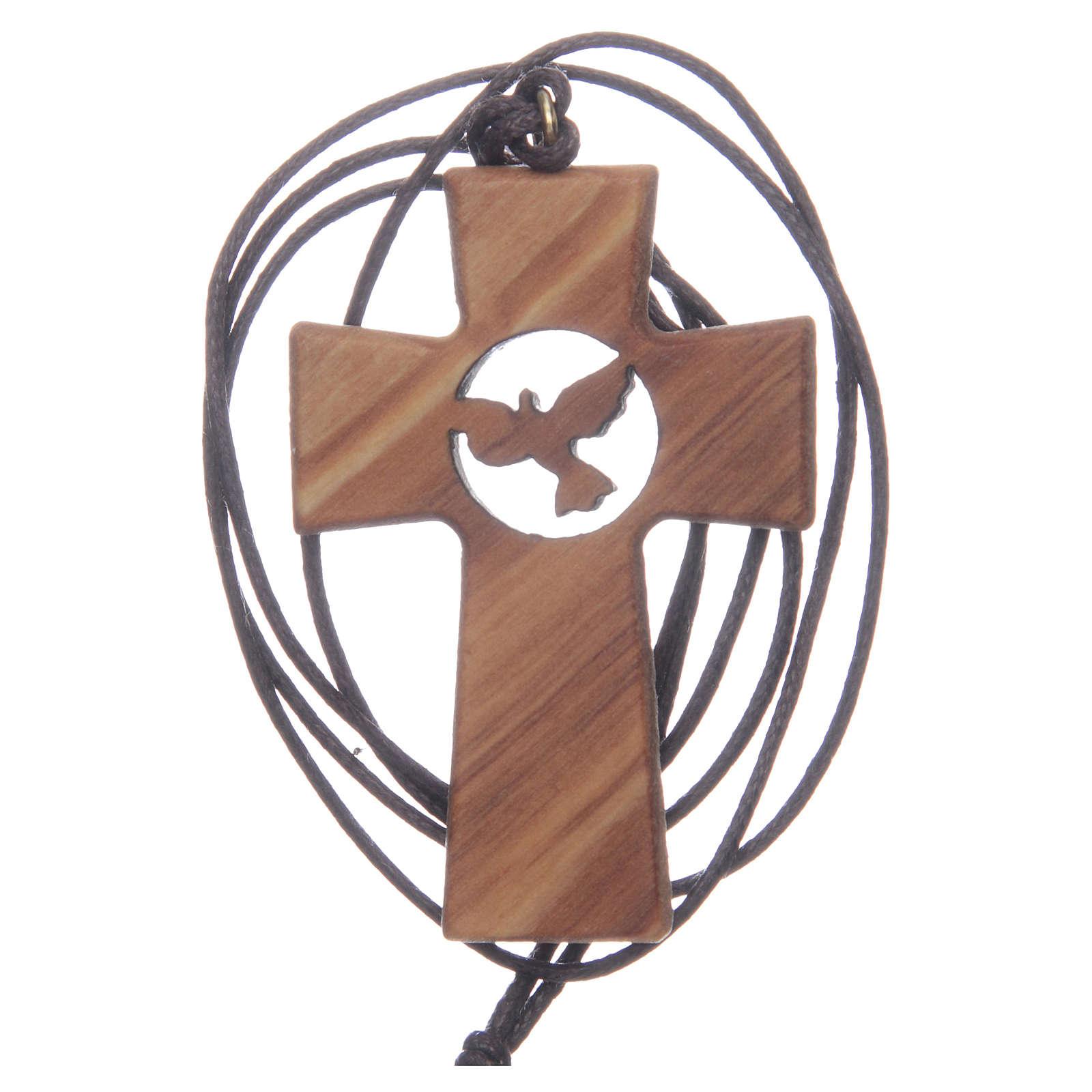 Kreuz aus Olivenbaumholz mit den Symbolen von Erstkommunion und Firmung 5 cm 4